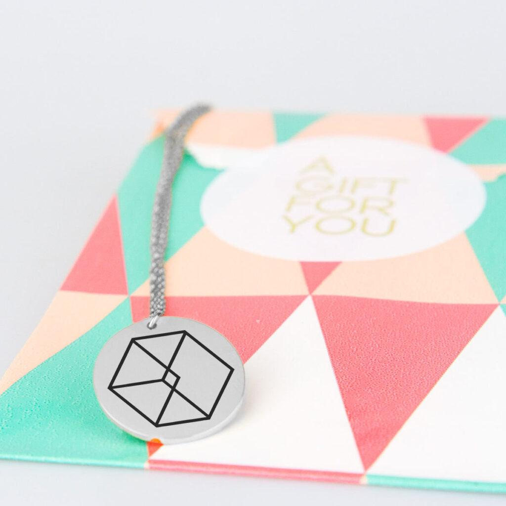 Engraved EXO Logo Charm Necklace