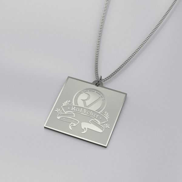 Red Velvet Engraved Charm Necklace