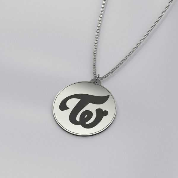 Engraved Twice Logo Charm Necklace