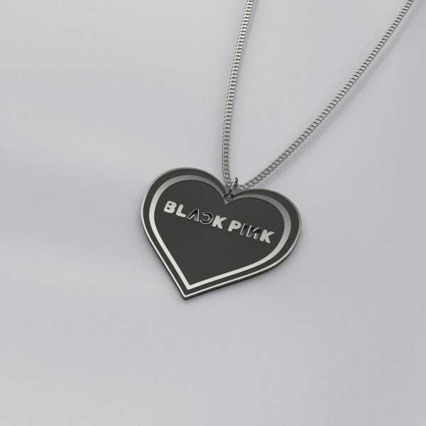Engraved BlackPink Heart Charm Necklace