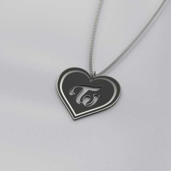 Engraved Twice Logo Heart Charm Necklace