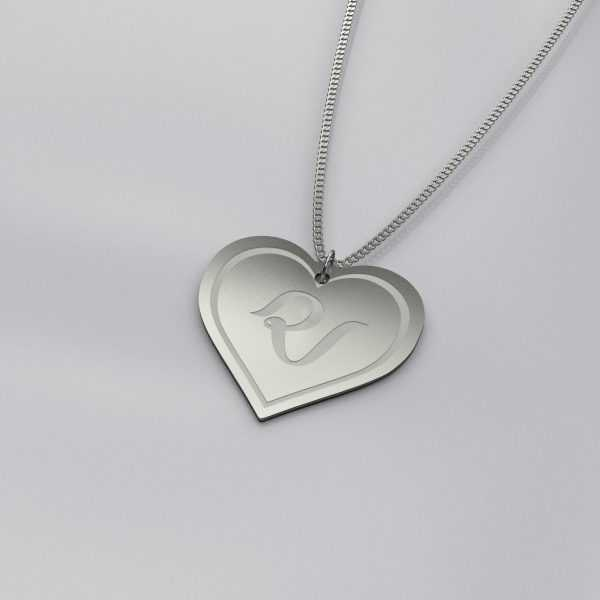 Red Velvet Heart Charm Outline Necklace